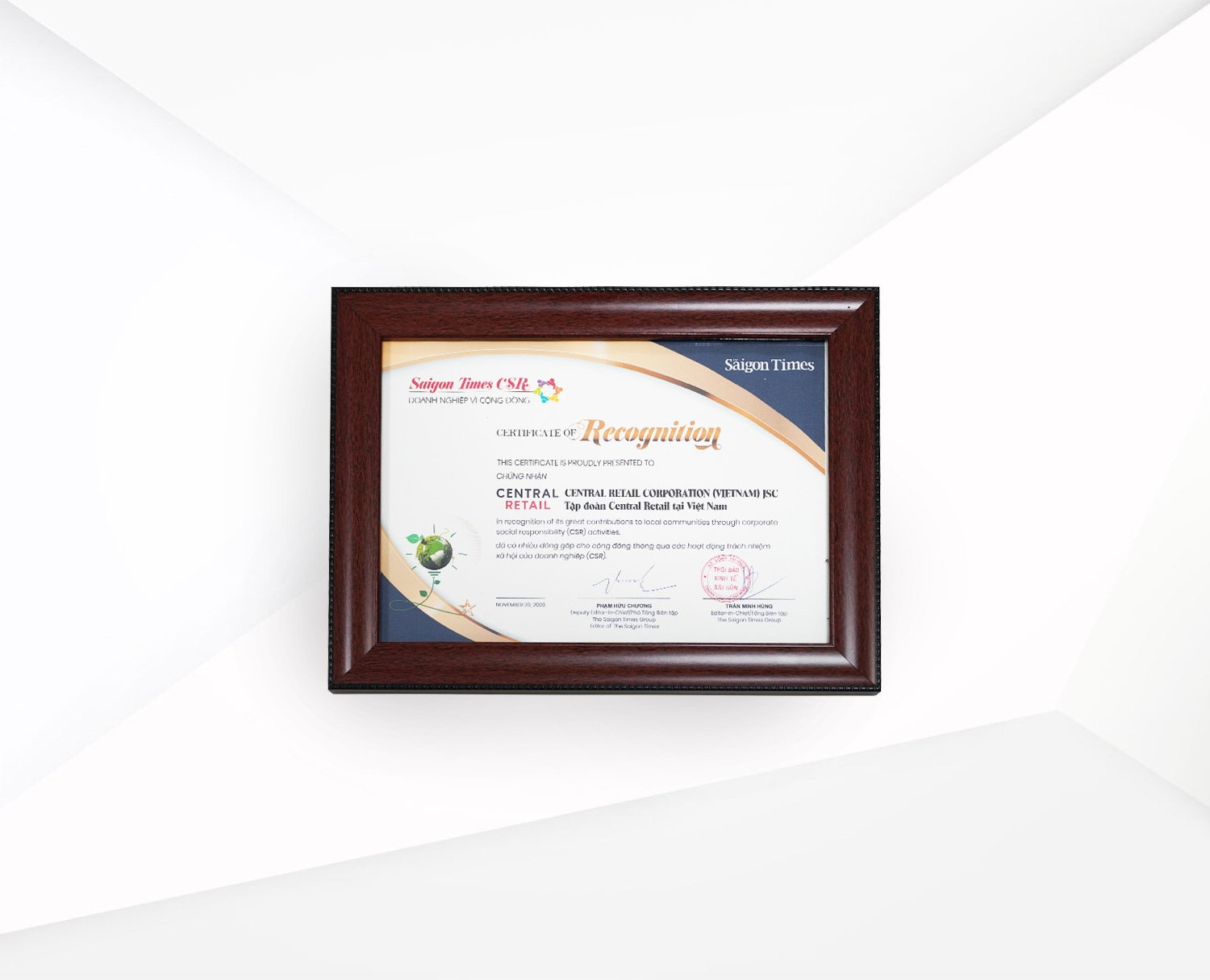 Recognition of outstanding CSR practices by Saigon Times